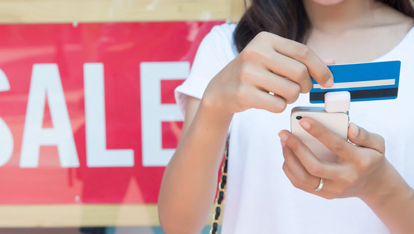 swiping card on phone